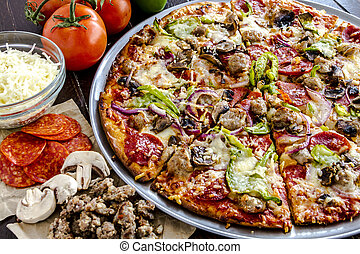 Fresh Thin Crust Supreme Pizza - Close up of fresh baked...