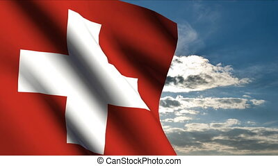 Swiss Flag waving in wind with clouds in background