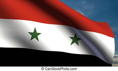 Syrian Flag waving in wind with clouds in background