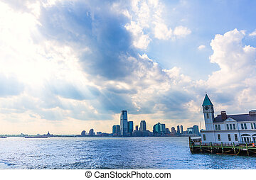 Pier A in Battery Park Manhattan skyline New York and Jersey...