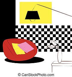 red puffy chairs and checkered wall interior