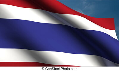 Thai Flag waving in wind with clouds in background