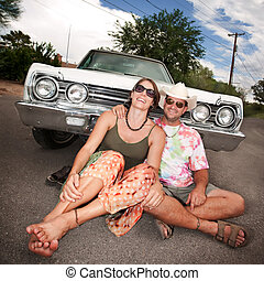 Happy Couple with Vintage Car - Happy Adult Couple with...