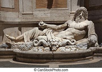 antiguo, neptuno, estatua, romano, dios, Capitoline, museo,...