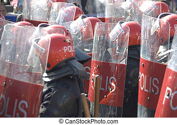 Riot Police - Image of riot police in full gear.