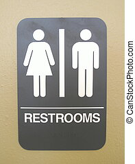 Unisex Bathroom sign - Unisex bathroom sign photographed on...