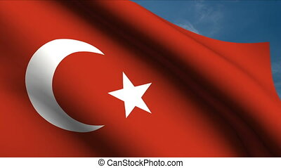 Turkish Flag waving in wind with clouds in background