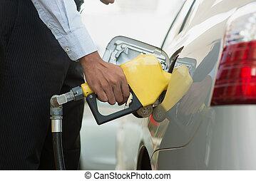 bombeo, gasolina, combustible, en, gas, estación,