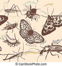Vector seamless wallpaper pattern with detailed insects in...