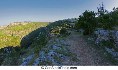 Panorama of the Manojlovac waterfall at Krka river - Fisheye...