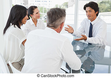 Business team having a meeting together in an office