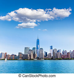Manhattan New York skyline from Hudson River in USA US