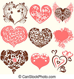 Collection of abstract vector Valentine's Day hearts from...