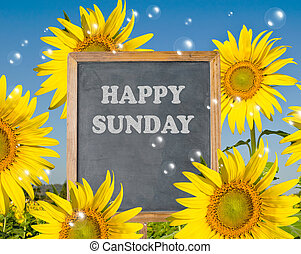 Happy Sunday with blooming sunfloweron background
