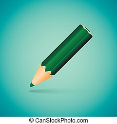 Vector Illustration - Green Angled Pencil on Blue Background