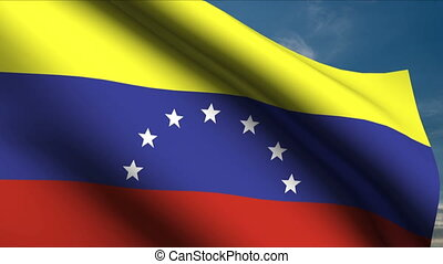Venezuela Flag waving in wind with clouds in background