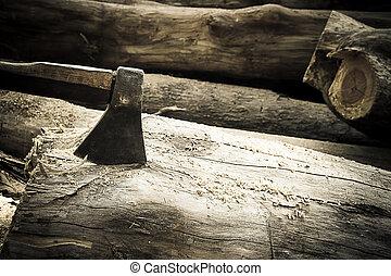 Hacha, en, el, timber.,