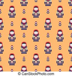 russian doll matreshka seamless pattern vector background