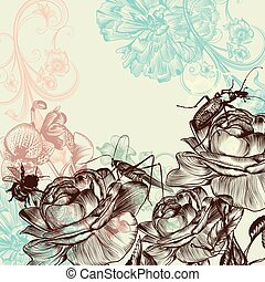 Fashion floral background with rose