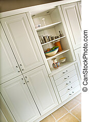 Cupboard and trinkets in a living room