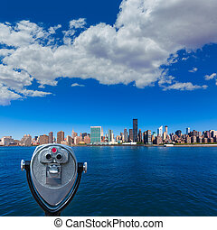 Manhattan New York sunny skyline East River NYC USA...