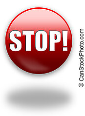 STOP button sign - Glossy round STOP button sign with shadow...