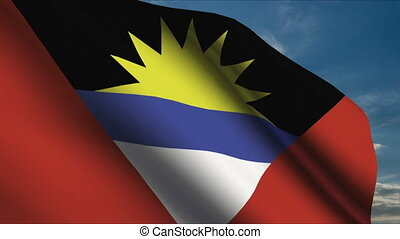 Antigua and Barbuda Flag waving in wind with clouds in...