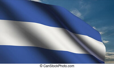 Argentinian Flag waving in wind with clouds in background