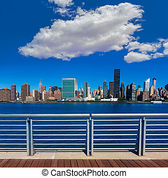 Manhattan New York sunny skyline East River NYC - Manhattan...