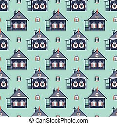 russian coutry house seamless pattern izba background
