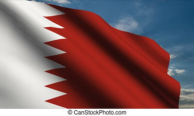 Bahrain Flag waving in wind with clouds in background