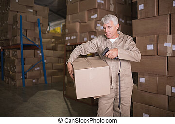 Worker scanning package in warehouse - Manual worker...