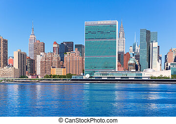 Manhattan New York sunny skyline East River NYC USA