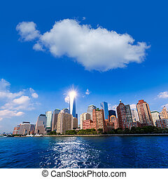 Manhattan skyline New York sunshine US blue sky