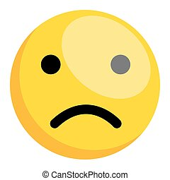 Sad Smiley - Cartoon Comic Sad Smiley Character Face...