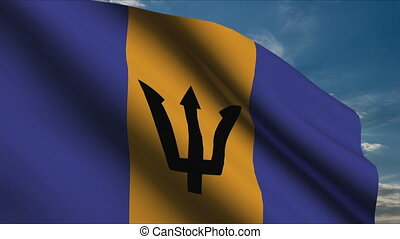 Barbados Flag waving in wind with clouds in background
