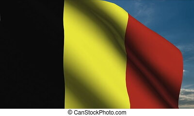 Belgium Flag waving in wind with clouds in background