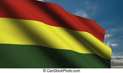 Bolivia Flag waving in wind with clouds in background