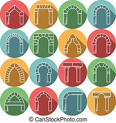 Set of colored flat vector icons for archway - Flat colored...
