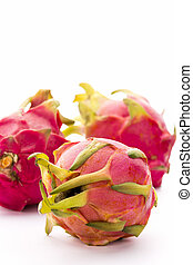 Close-up On Three Whole Strawberry Pears - Closeup of a...