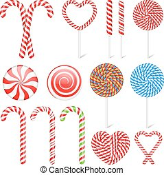 Candies - Set of different candies and lollipops, vector...