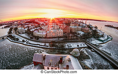 View of the historic city of Vyborg from St. Olav tower, at dawn
