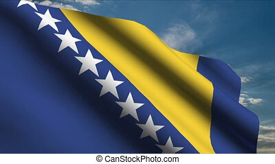 Bosnia and Herzegovina Flag waving in wind with clouds in...