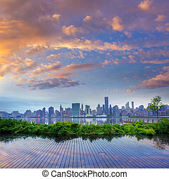 Manhattan New York skyline at sunset East River - Manhattan...