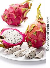 Closeup Of Red-Skinned Pitaya And Its Creamy Pulp - Pitaya...