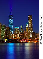 Manhattan, tramonto, orizzonte, nuovo, York, NYC, ci,