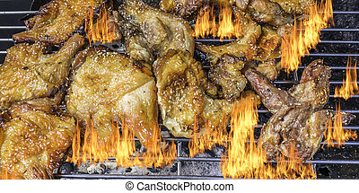 Roasted chicken on barbecue grills - image of Roasted...