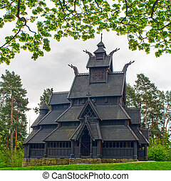 old wooden church in Folks museum Oslo - Gol stave church in...