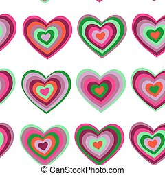 purple, green striped heart on white background Valentines...