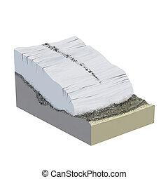 Glacier parts - Digital illustration of a terrain glacier